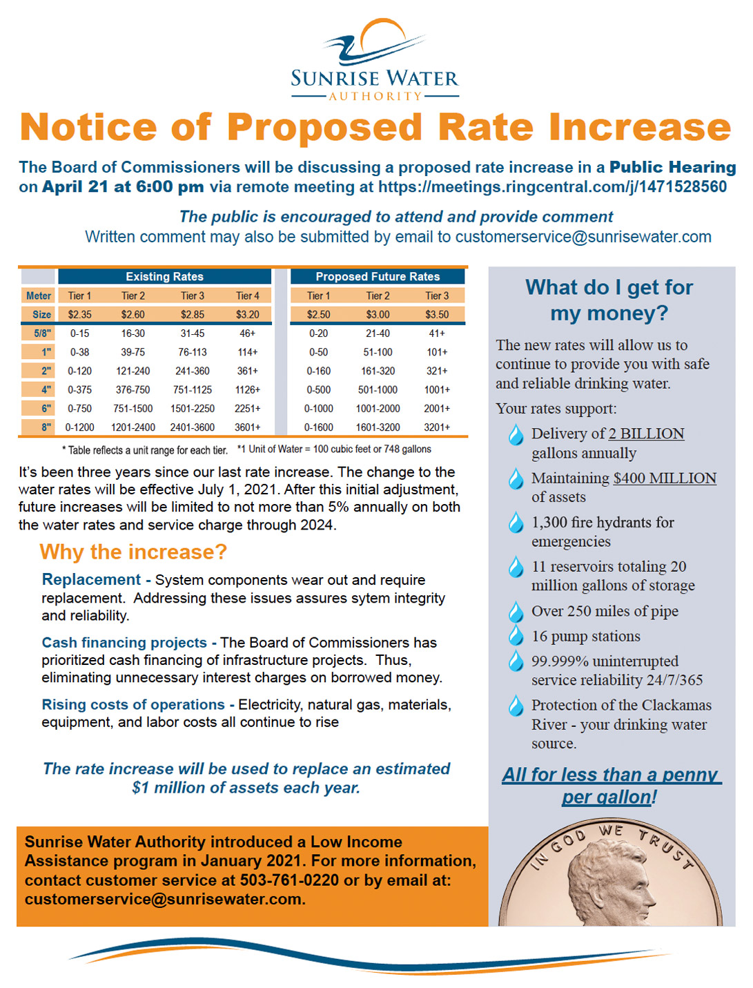 Notice of Proposed Rate Increase for Non-Residential Customers
