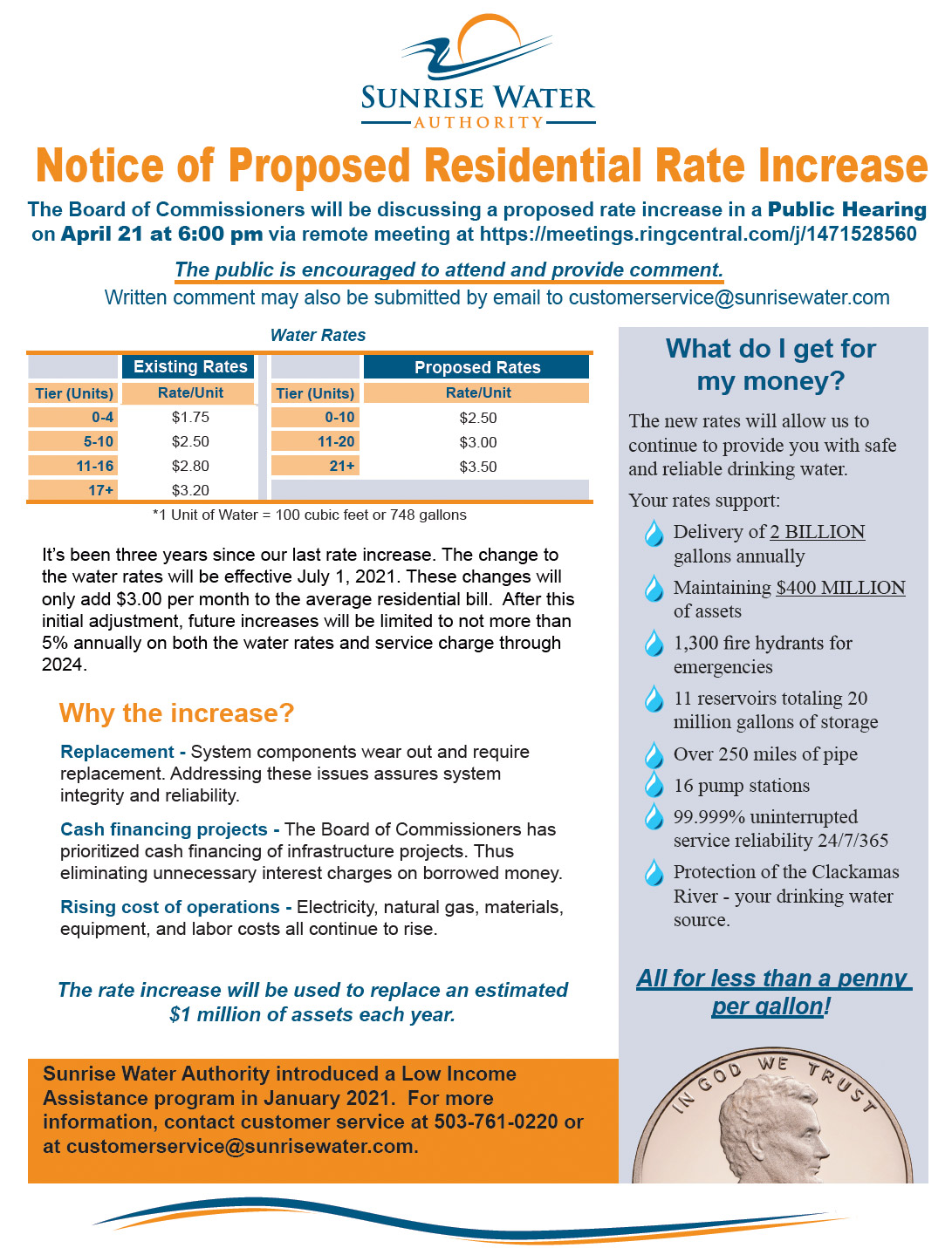Notice of Proposed Rate Increase for Residential Customers
